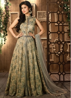 Mouni Roy Beads Work Floor Length Designer Salwar Suit