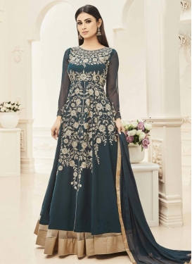 Mouni Roy Beige and Teal Kameez Style Lehenga For Ceremonial