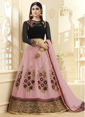 Mouni Roy Black and Pink Embroidered Work Designer A Line Lehenga Choli