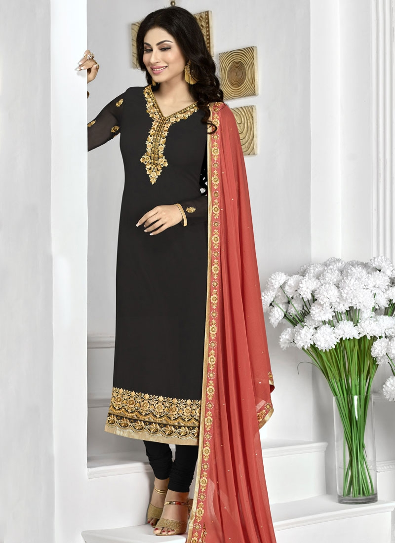 Mouni Roy Black Color Party Wear Salwar Kameez