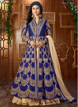 Mouni Roy Cream and Navy Blue Net Designer Long Choli Lehenga