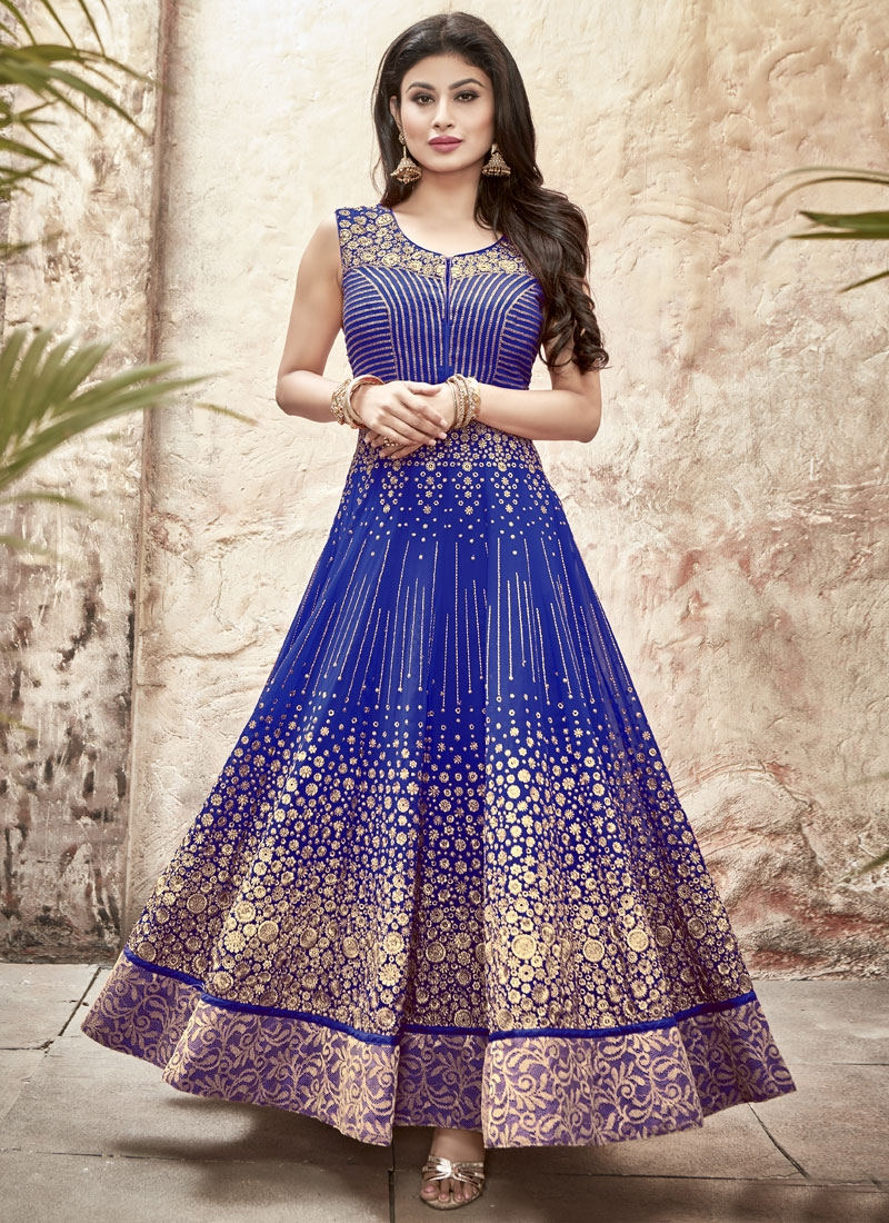 Mouni Roy Faux Georgette Long Length Anarkali Salwar Suit