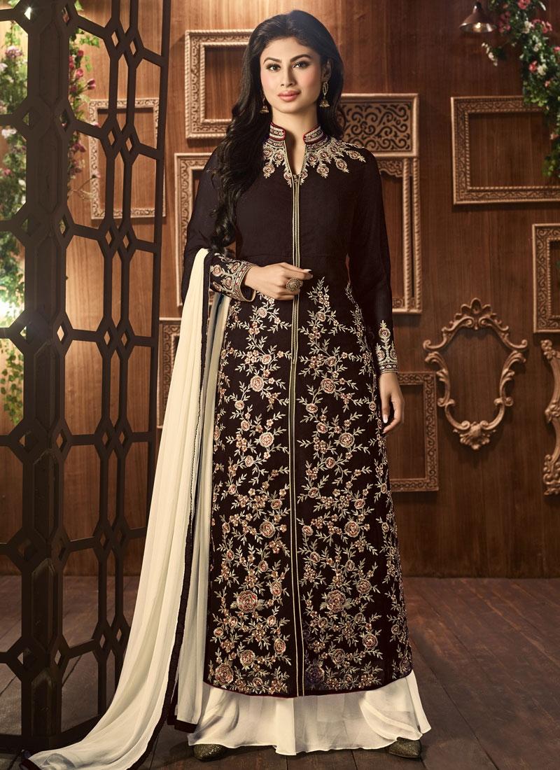 Mouni Roy Faux Georgette Palazzo Style Pakistani Suit