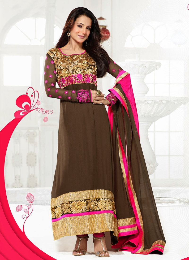Multi And Patch Work Amisha Patel Bollywood Suit