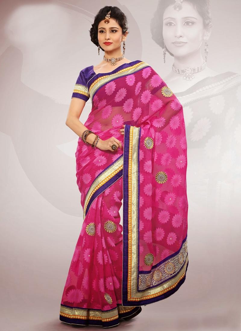 Multi And Resham Work Party Wear Saree