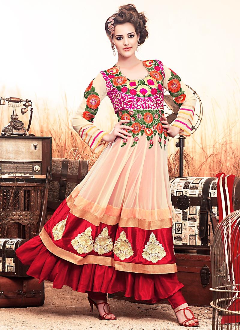 Multi Color Net Anarkali Salwar Kameez