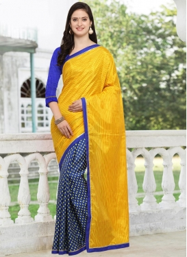 Mustard and Navy Blue Art Silk Designer Half N Half Saree