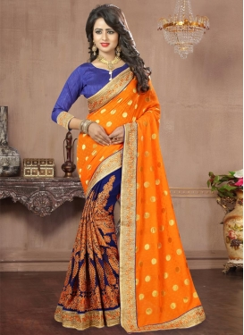 Mustard and Navy Blue Faux Georgette Half N Half Saree