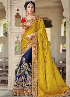 Mustard and Navy Blue Half N Half Designer Saree