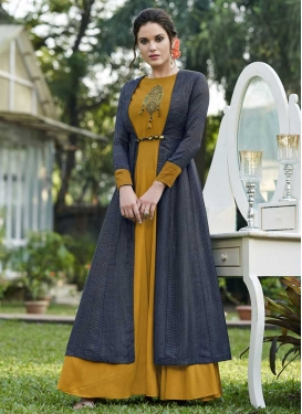 Mustard and Navy Blue Jacquard Silk Jacket Style Salwar Suit