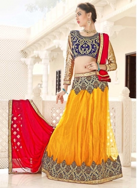 Mustard and Navy Blue Net Trendy Lehenga