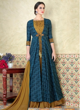 Mustard and Navy Blue Print Work Jacket Style Floor Length Suit