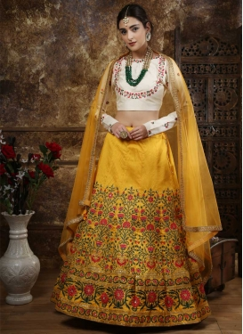 Mustard and Off White Embroidered Work A Line Lehenga Choli