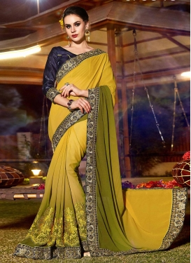 Mustard and Olive Embroidered Work Traditional Designer Saree