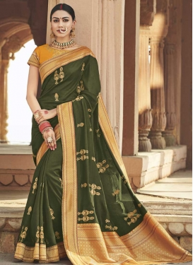 Mustard and Olive Embroidered Work Traditional Saree