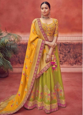 Mustard and Olive Trendy A Line Lehenga Choli