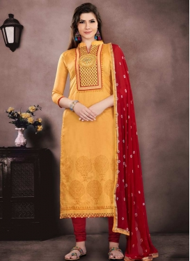 Mustard and Red Chanderi Cotton Trendy Straight Salwar Kameez