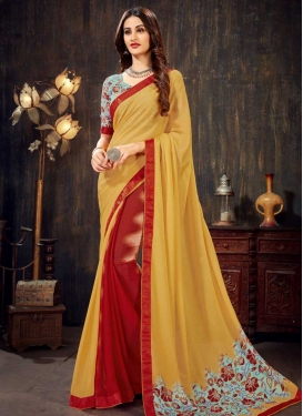 Mustard and Red Designer Traditional Saree