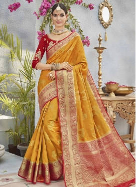 Mustard and Red Embroidered Work Classic Saree