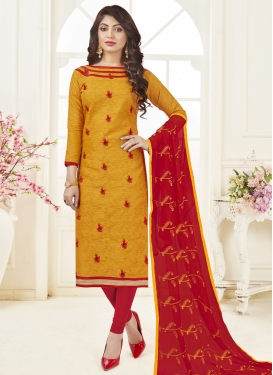 Mustard and Red Embroidered Work Trendy Churidar Salwar Kameez