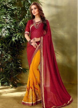 Mustard and Red Lace Work Half N Half Designer Saree