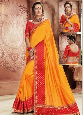 Mustard and Red Lace Work Silk Traditional Saree
