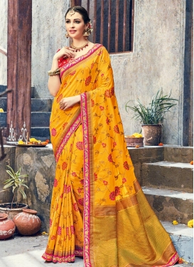 Mustard and Red Lace Work Traditional Saree