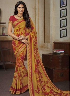 Mustard and Red Lace Work Trendy Classic Saree