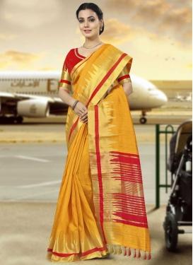 Mustard and Red Print Work Trendy Saree