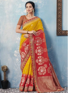 Mustard and Red Traditional Designer Saree