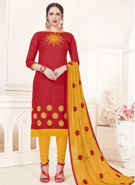 Mustard and Red Trendy Straight Salwar Kameez
