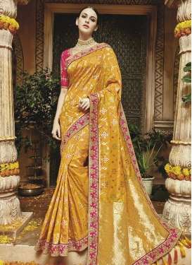 Mustard and Rose Pink Contemporary Style Saree