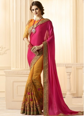 Mustard and Rose Pink Embroidered Work Banarasi Silk Half N Half Saree