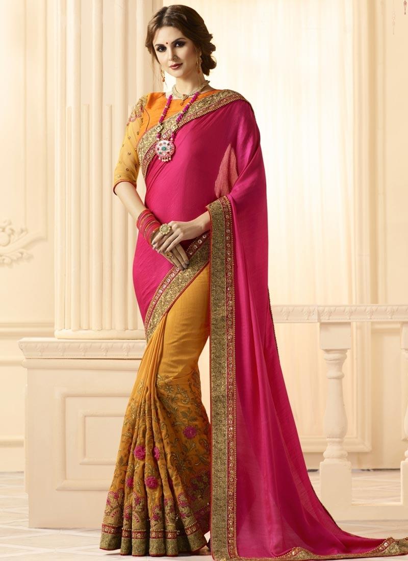 Mustard and Rose Pink Embroidered Work Banarasi Silk Half N Half Saree