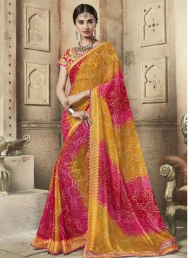 Mustard and Rose Pink Faux Georgette Contemporary Style Saree