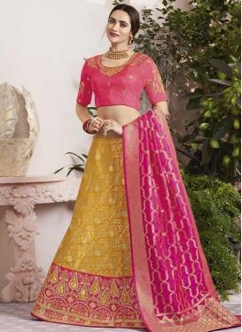 Mustard and Rose Pink Jacquard Silk Trendy Lehenga Choli