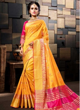 Mustard and Rose Pink Thread Work Classic Saree