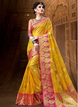 Mustard and Rose Pink Thread Work Trendy Saree