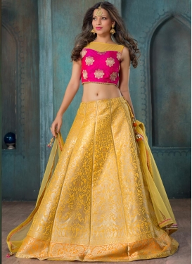Mustard and Rose Pink Trendy A Line Lehenga Choli For Ceremonial