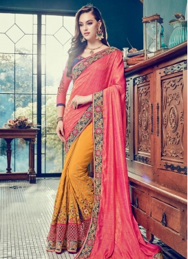 Mustard and Salmon Embroidered Work Half N Half Trendy Saree