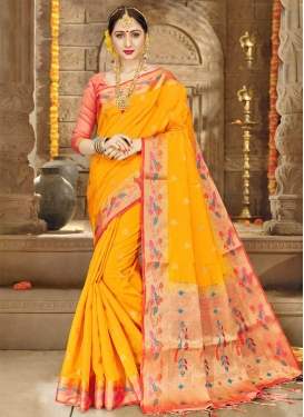 Mustard and Salmon Thread Work Designer Contemporary Style Saree