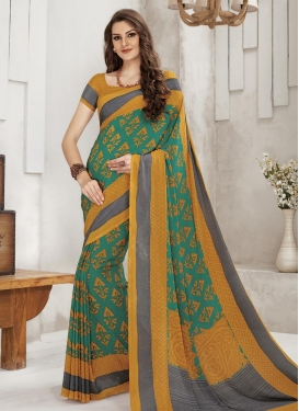 Mustard and Sea Green Print Work Trendy Classic Saree
