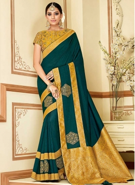 Mustard and Teal Art Silk Traditional Saree