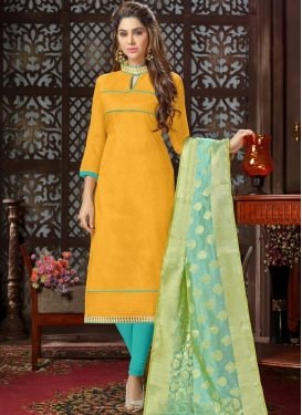 Mustard and Turquoise Trendy Salwar Suit