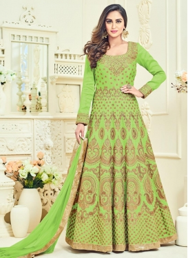 Mystic Booti Work Banglori Silk Long Length Anarkali Suit For Festival
