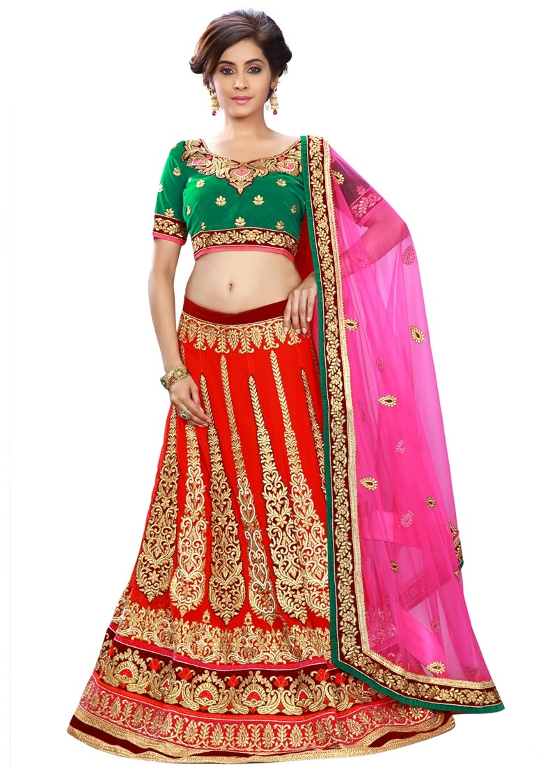 Mystic Booti Work Red Color Wedding Lehenga Choli