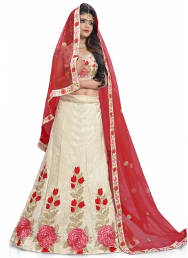 Mystic Cream and Red Trendy A Line Lehenga Choli For Ceremonial