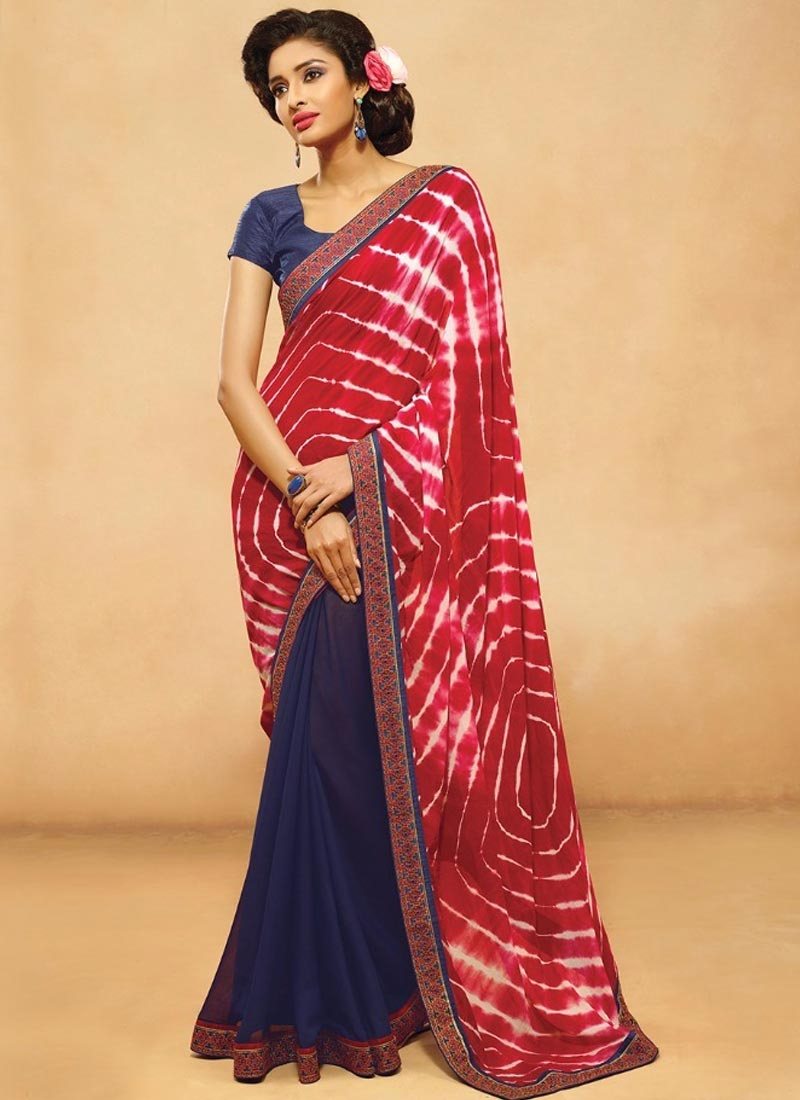 Mystic Digital Print Work Half N Half Casual Saree
