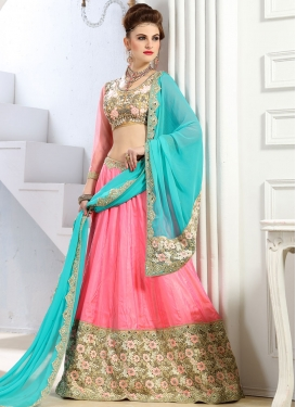 Mystic  Embroidered Work Banglori Silk Aqua Blue and Rose Pink Designer Classic Lehenga Choli For Ceremonial