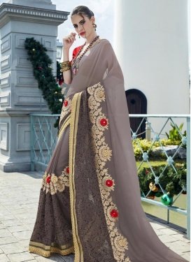 Mystic Grey and Red Embroidered Work Trendy Designer Saree